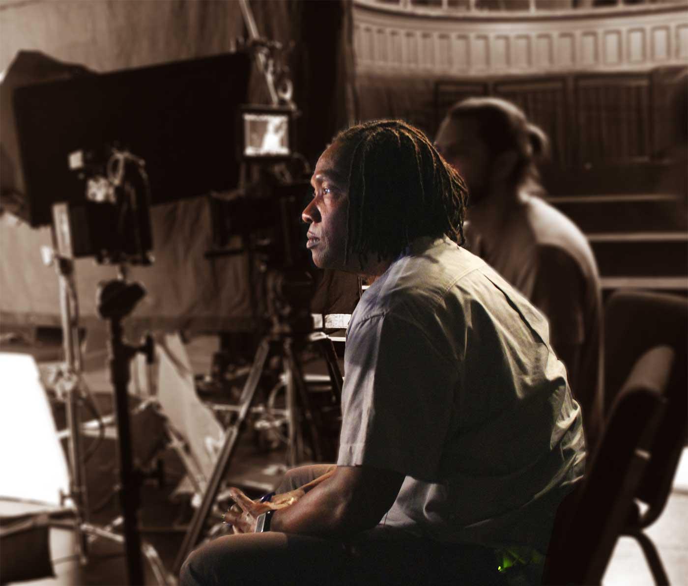 Roger Ross Williams on set